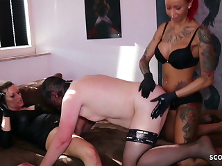 Femdom Strap On Pegging Fuck 3Some with 2 German BDSM Teens