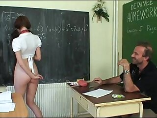 Schoolgirl forced by will not hear of teacher to exaggeration will not hear of skirt in class!