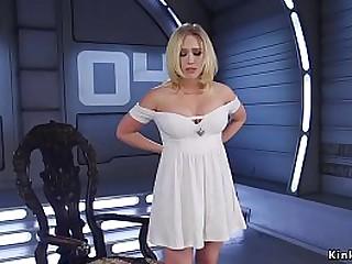 Big tits blonde hottie Kagney Linn Karter with hot ass fucking machine