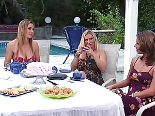 Hot Big Tits MILF Moms have an Amazing Lesbian Tea Party at Home with lots of Kissing, Real Orgasms, Fingering and Pussy Licking